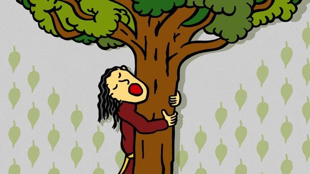Eine Zeichnung, die einen Mann zeigt, der einen Baum umarmt.