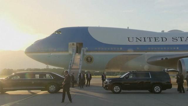 Die Air Force One auf dem Flughafen Genf.