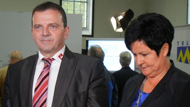 Walter Wobmann und Marianne Meister im Wahlzentrum Solothurn
