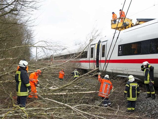 Feuerwehr im Einsatz an einem Zug