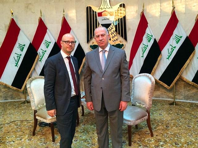 Pascal Weber und der irakische Vize-Präsidenten Usama Al-Nudschaifi