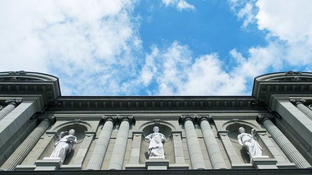Das Kunstmuseum Bern von unten fotografiert. Oben sieht man den blauen Himmel.