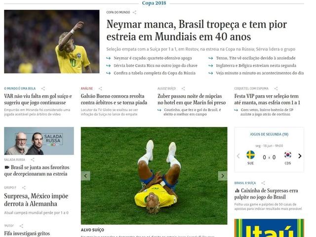 Schlagzeile der brasilianischen Zeitung Folha de S.Paulo