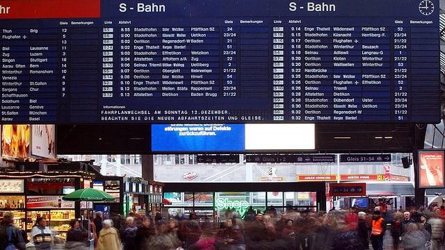 Tavla blaua cun l'urari da la s-Bahn