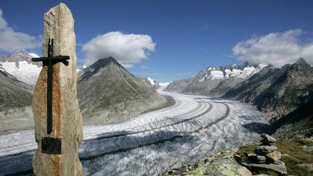 Blick auf den Aletschgletscher im Wallis