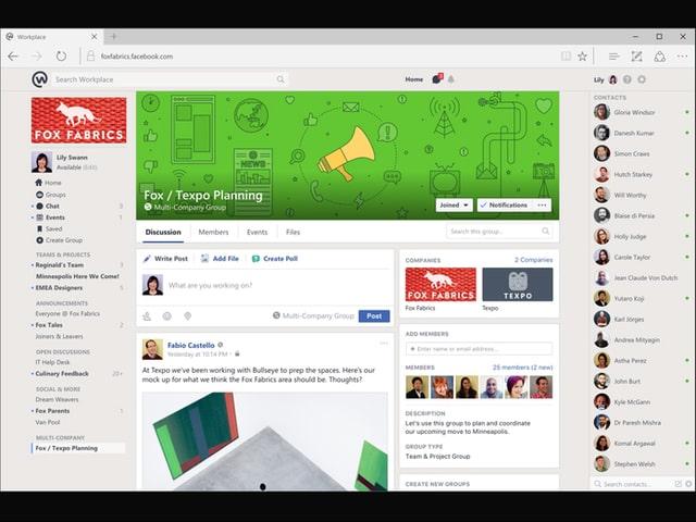 Ein Screenshot der Workplace-Oberfläche auf einem Laptop.