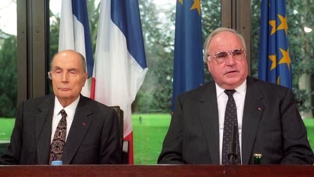 François Mitterand und Helmut Kohl.