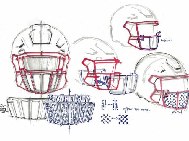 Ein Entwurf für die NFL-Helme mit integrierter Maske.