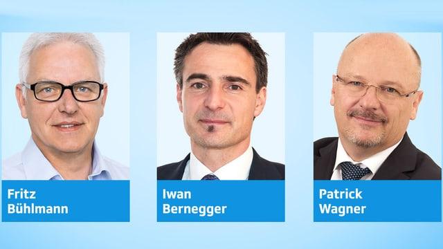 Drei Porträts von Männern.