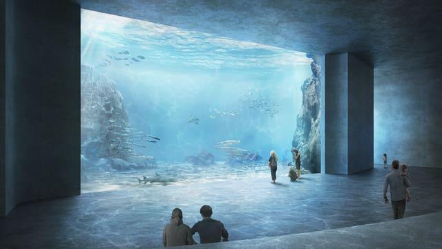 Innenansicht Ozeanium vor grossem Becken