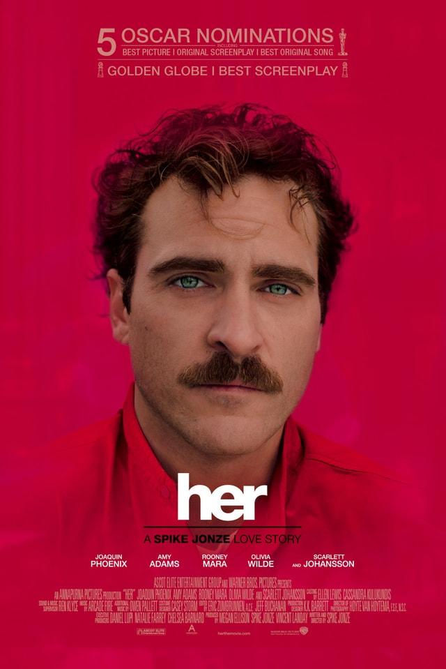Das Filmplakat von «Her». Es zeigt ein Porträt von Joaquin Phoenix.