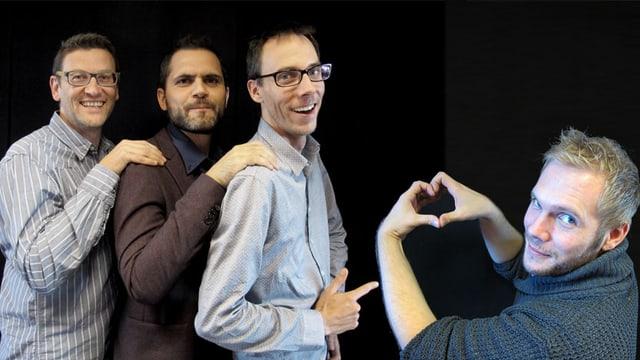 Die drei Korrespondenten aus den anderen Sprachregionen posieren mit Stefan Siegenthaler. Dieser formt vor einer schwarzen Wand mit den Händen ein Herz.