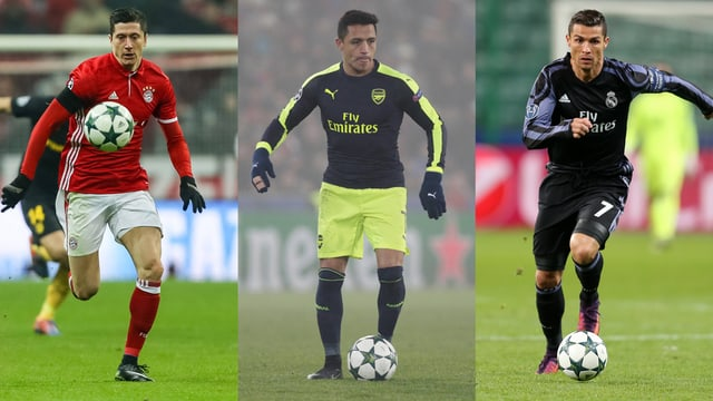Lewandowski (Bayern), Sanchez (Arsenal), Ronaldo (Real).