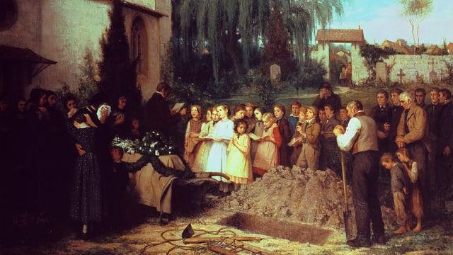 Gemälde: Ein Gruppe Menschen steht um ein Grab, im Vordergrund ein Mannmit einer Schaufel.