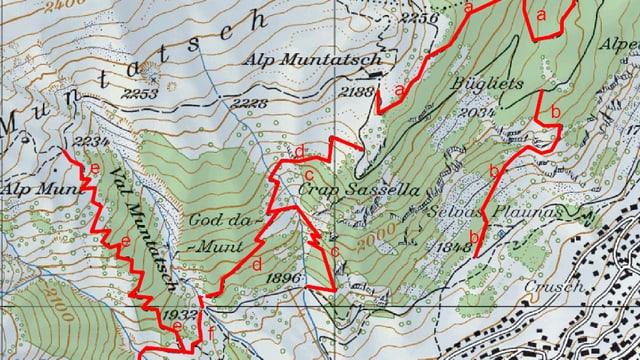 Charta geografica cun las 6 vias che duain esser scumandadas per ils mountainbikers