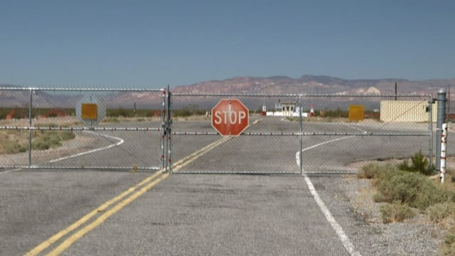 Ehemaliger Eingang zum Gelände des Yucca Mountain Project, Nevada, USA.