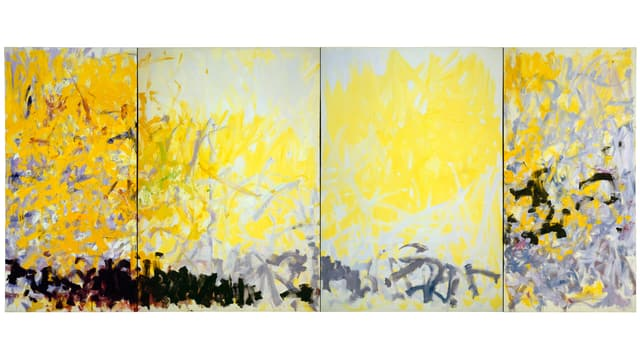 Ein gelbes, vierteiliges Gemälde von Joan Mitchell namens «Minnesota».