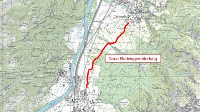 Karte mit eingezeichnetem Radweg