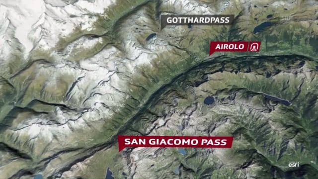 Karte, die die Distanz zwischen Airolo und dem San Giacomo Pass darstellt