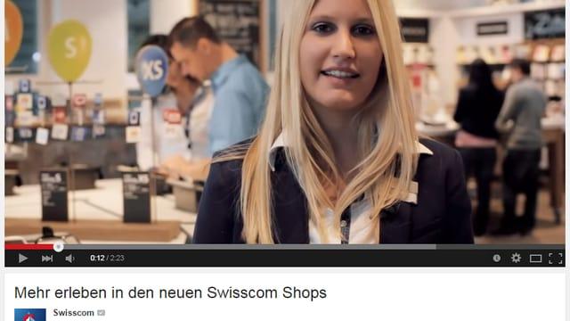 Ausschnitt aus einem Werbefilm auf Youtube von Swisscom.