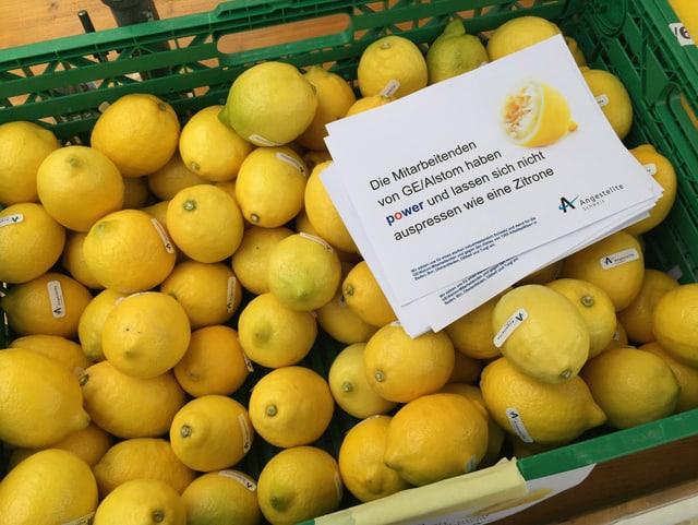 Ein Korb voll Zitronen