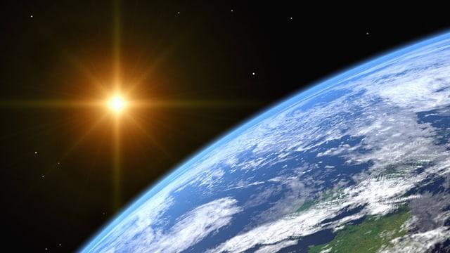 Bild aus dem Weltall: Im Vordergund die Erde, hinten die helle Sonne.