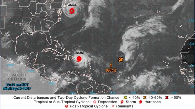 Satellitenbild der Karibik und der angrenzenden US-Ostküste.