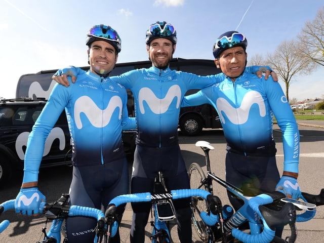 Die Movistar-Captains Landa, Valverde und Quintana (v.l.n.r.)
