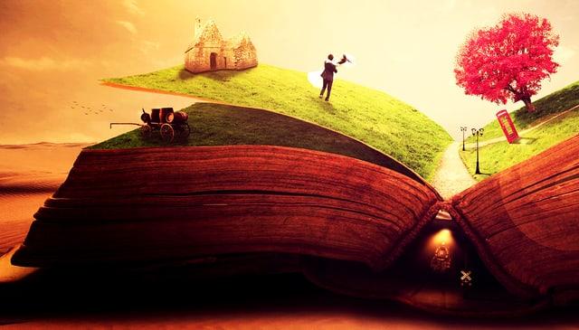 Auf Buchseiten ist eine Landschaft dargestellt.