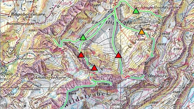Karte mit eingezeichneten Skitouren und Gefahrenstellen
