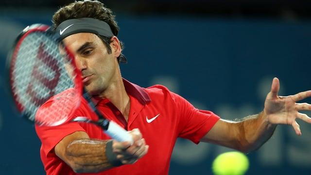 Roger Federer im Einsatz in Brisbane.