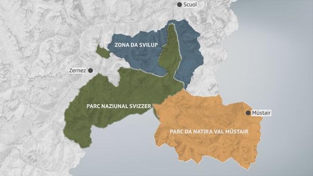 Survista actuala dal Reservat da Biosfera da l'Unesco Engiadina Val Müstair.
