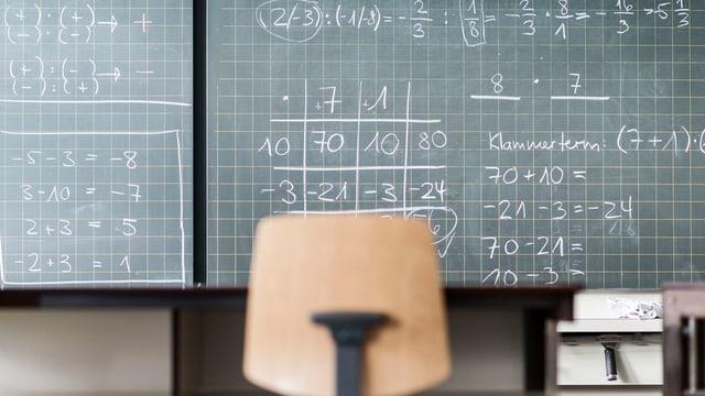Wandtafel mit Mathe-Aufgaben