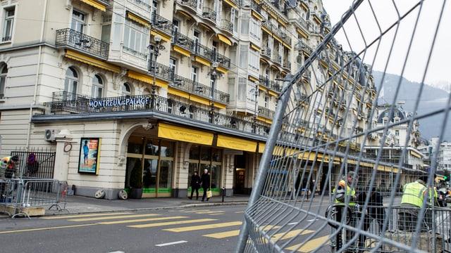 Die Friedenskonferenz für Syrien findet in Montreux (VD) statt. Die Sicherheitsvorkehrungen sind am Laufen.  (keystone)