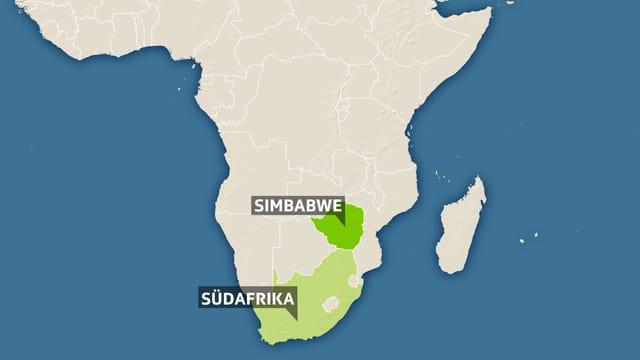 Karte vom Süden Afrikas, eingezeichnet Simbabwe und Südafrika.