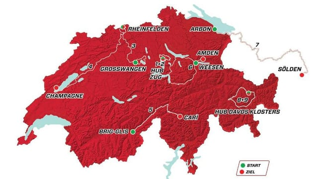 Die Karte der Tour de Suisse 2016.