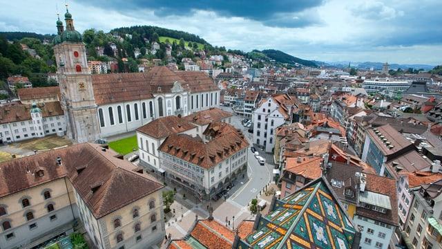 Sicht auf Stiftsbezirk St.Gallen mit Klosterkirche und Altstadt