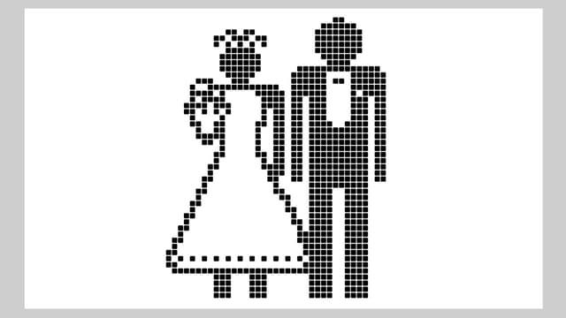 Ein Pixel-Bild eines Hochzeitpaars.