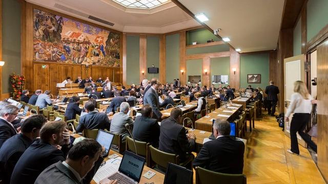 Blick in den Grossratssaal in Sitten.