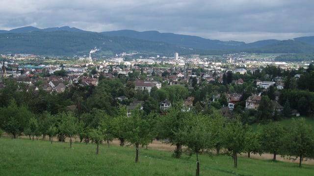 Der Blick vom Heiteren auf die Stadt Zofingen.