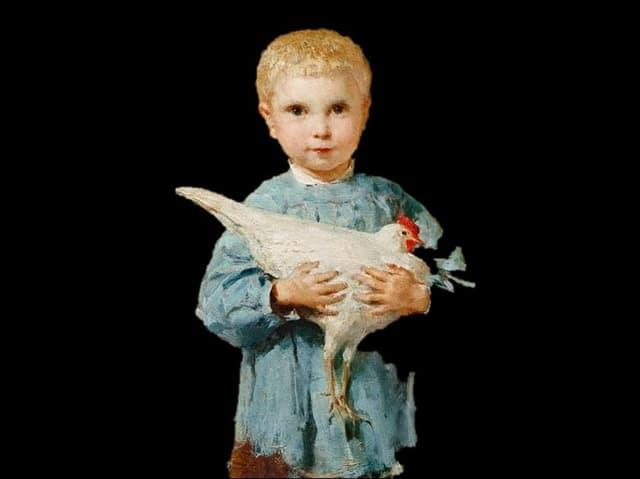 Das Gemälde «Maurice mit Huhn» - ein etwa 4-Jähriger mit einem Huhn auf den Armen