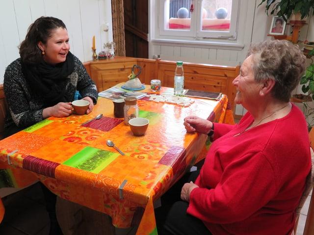 Die beiden Frauen am Küchentisch