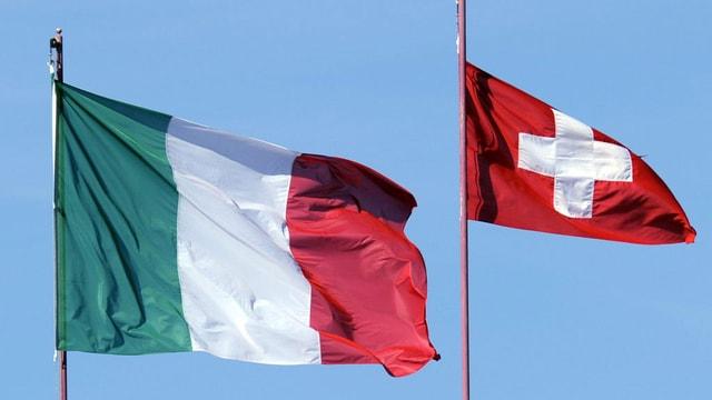 Italien und Schweiz-Flagge.