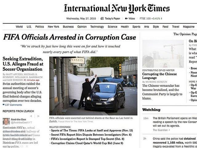 Pascal Moras Bild auf der Titelseite der «New York Times»