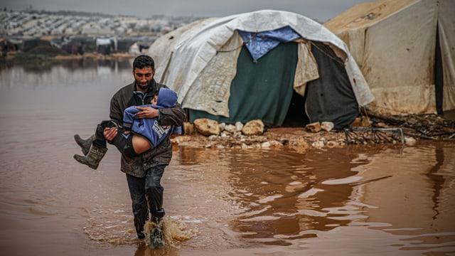 Überflutetes Flüchtlingscamp bei Idlib, Januar 2021.