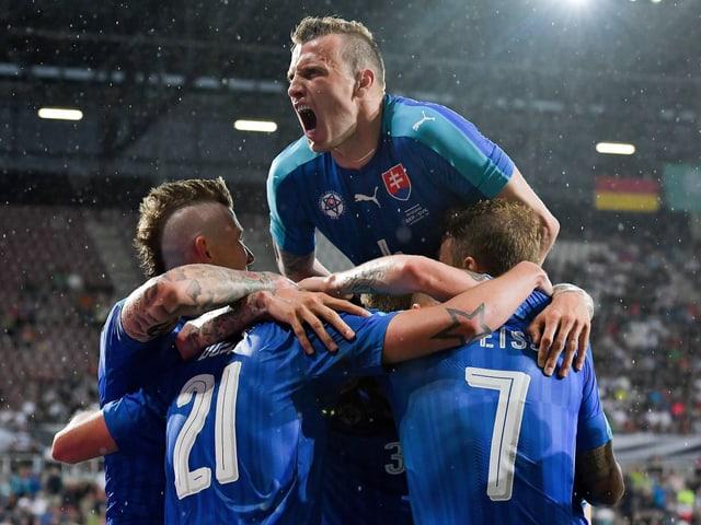 Das slowakische Team bejubelt frenetisch einen Treffer.