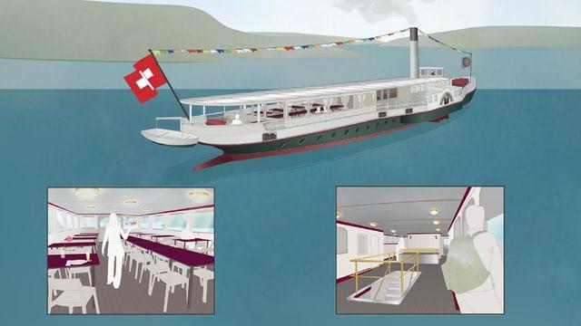 Visualisierung des Dampfischiffes: Das Schiff von aussen, in kleinen Fenstern das Deck mit dem Abgang zu den Maschinen und der Salon.