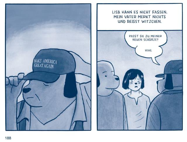 Hunde die Sprechen mit einer Cap auf der Steht Make America Great Again