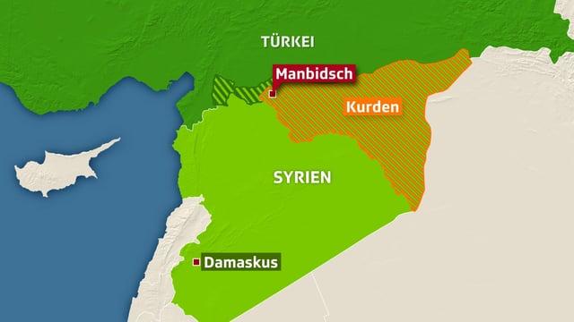 Karte von Syrien, eingezeichnet das Kurdengebiet.