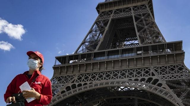 Ein Mensch vor dem Eiffelturm.